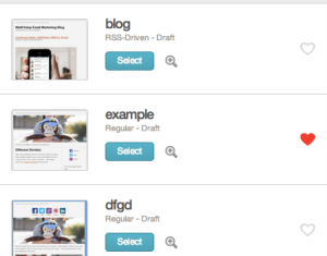 New heart icon for favourites in MailChimp Campaigns dashboard